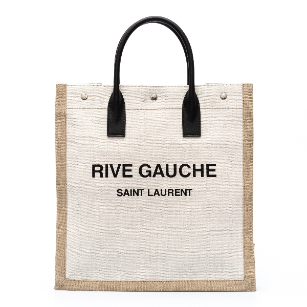 White canvas tote bag with brand name                                                                                                                 Saint Laurent 631682 back