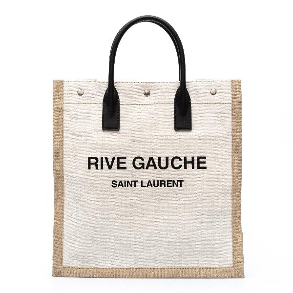 Borsa tote in tela bianca con nome brand                                                                                                              Saint Laurent 631682 retro