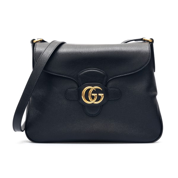 Black shoulder bag with gold double G                                                                                                                 Gucci 648933 front