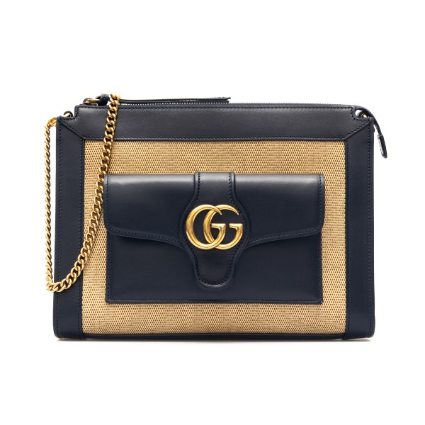 Shoulder bag in straw and black leather                                                                                                               Gucci 648999 back