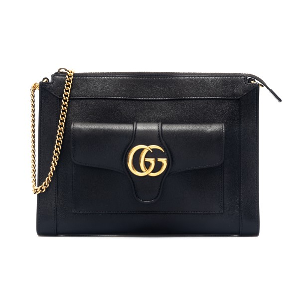 Borsa a spalla nera con logo dorato                                                                                                                   Gucci 648999 retro