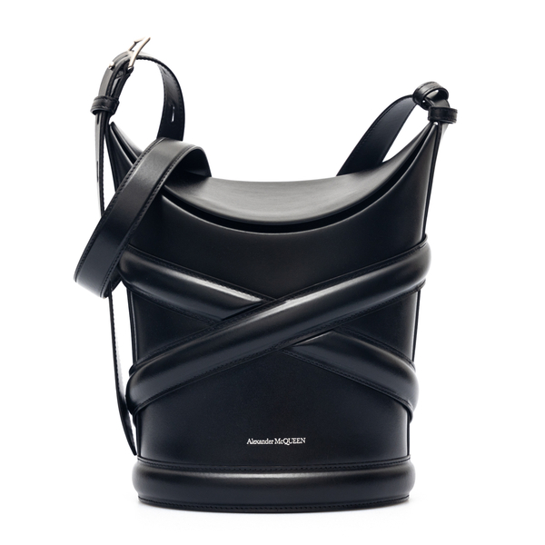 Black bucket bag with weave                                                                                                                           Alexander Mcqueen 656468 back