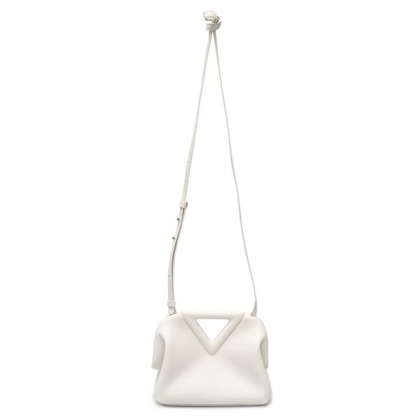 White shoulder bag with V-handle                                                                                                                      Bottega Veneta 658476 back