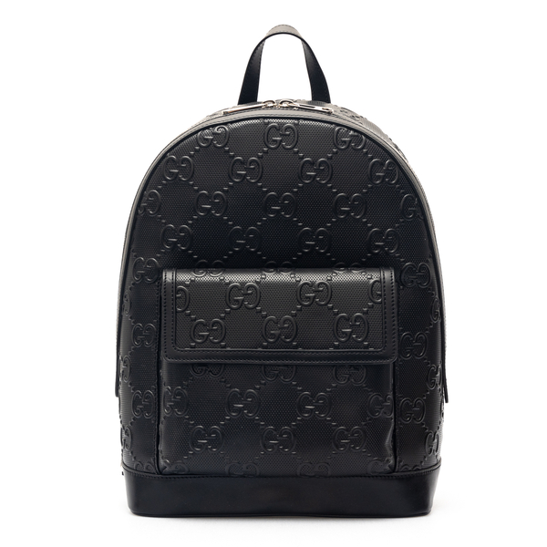 Zaino nero in pelle con pattern logo                                                                                                                  Gucci 658579 retro