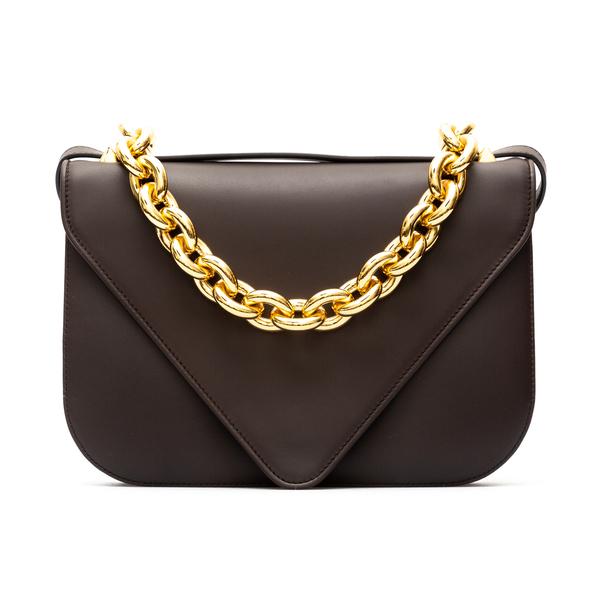 Brown shoulder bag with gold chain                                                                                                                    Bottega Veneta 667398 back