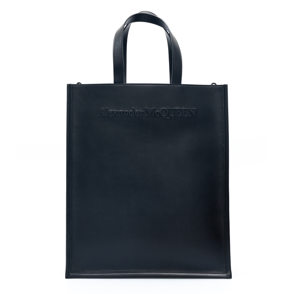 Black tote bag with embossed brand name                                                                                                               Alexander Mcqueen 668591 back