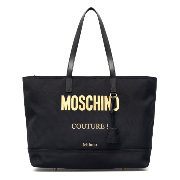 Black tote bag with logo print                                                                                                                        Moschino 7406 front