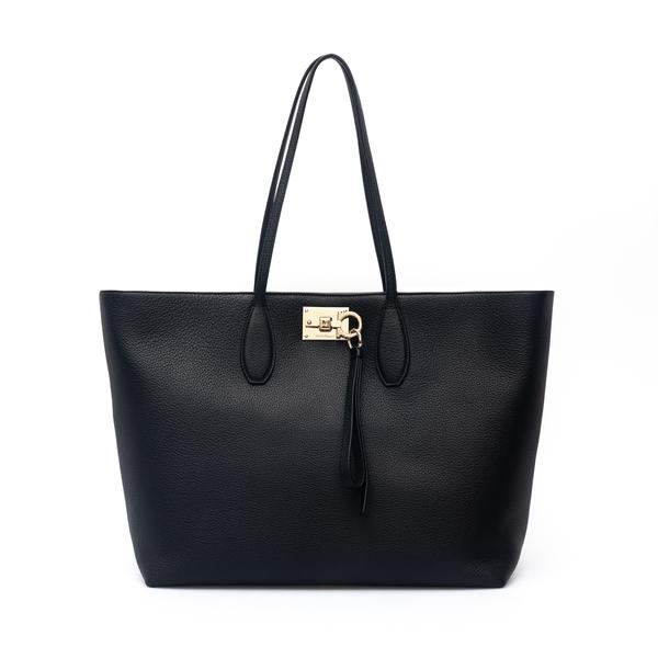 Black tote bag with removable pouch.                                                                                                                  Salvatore Ferragamo 745155 back