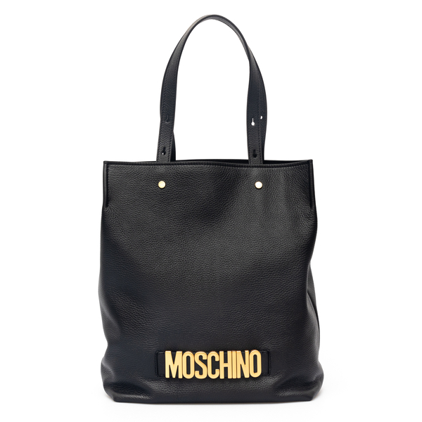 Black tote bag with golden lettering logo                                                                                                             Moschino 7478 back