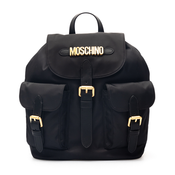 Black backpack with golden logo                                                                                                                       Moschino 7601 back