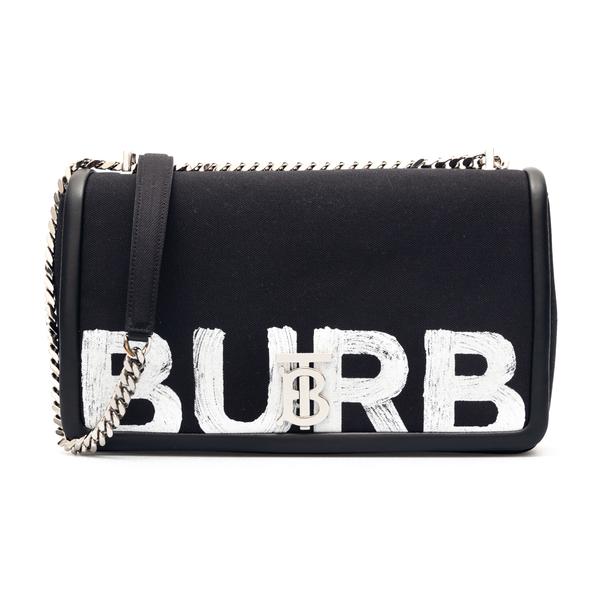 Black shoulder bag with brand name print                                                                                                              Burberry 8037579 back