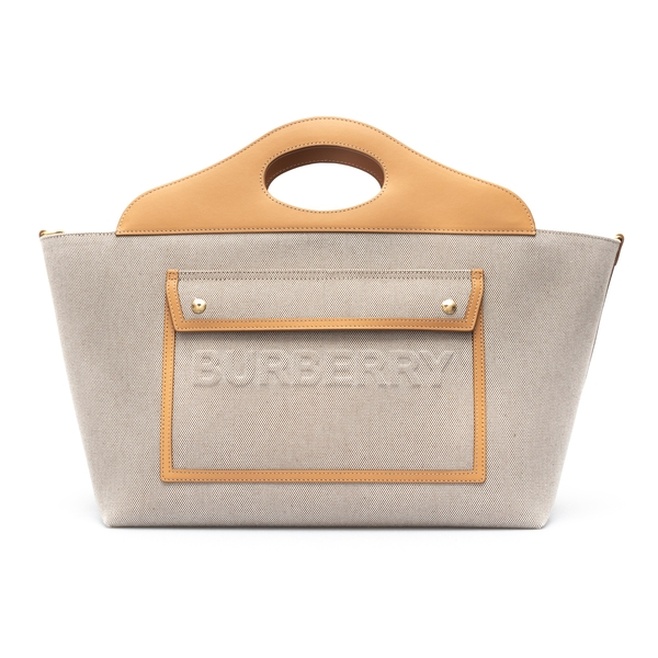 Beige tote bag with leather trim                                                                                                                      Burberry 8039080 back