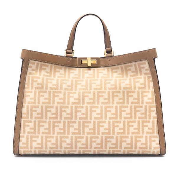 Beige tote bag with logo pattern                                                                                                                      Fendi 8BH374 back