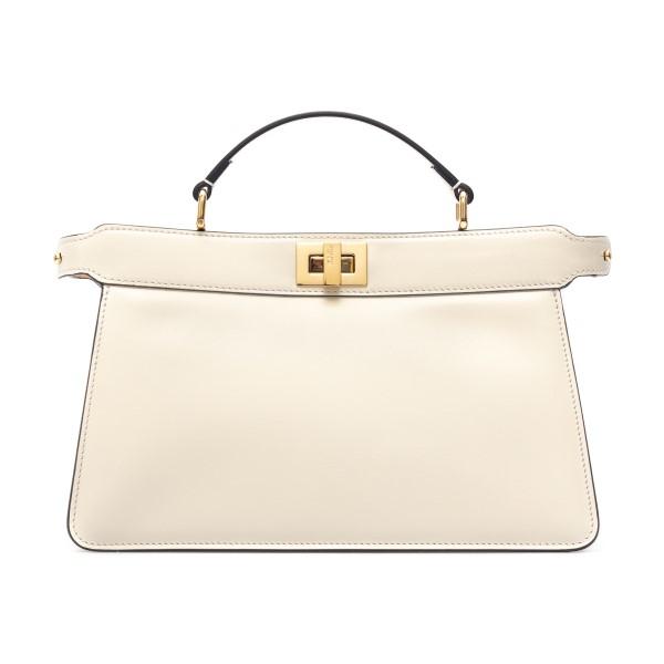White handbag with golden closure                                                                                                                     Fendi 8BN323 back