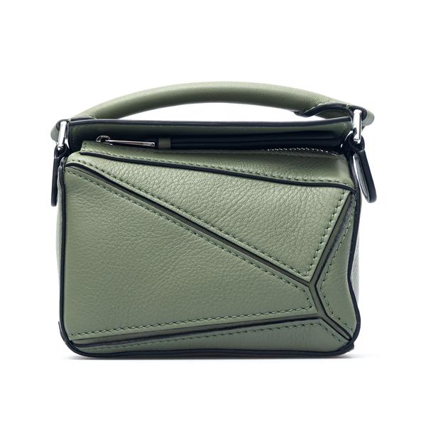 Green shoulder bag with geometric design                                                                                                              Loewe Paula's Ibiza A510U98X01 back
