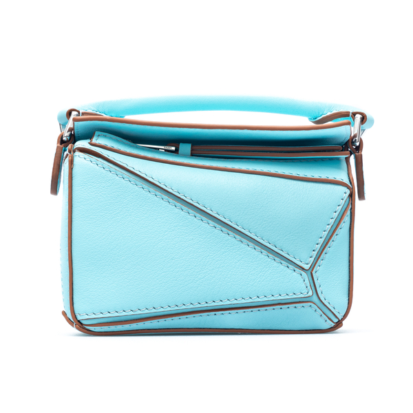 Light blue shoulder bag with carvings                                                                                                                 Loewe Paula's Ibiza A510U98X01 front