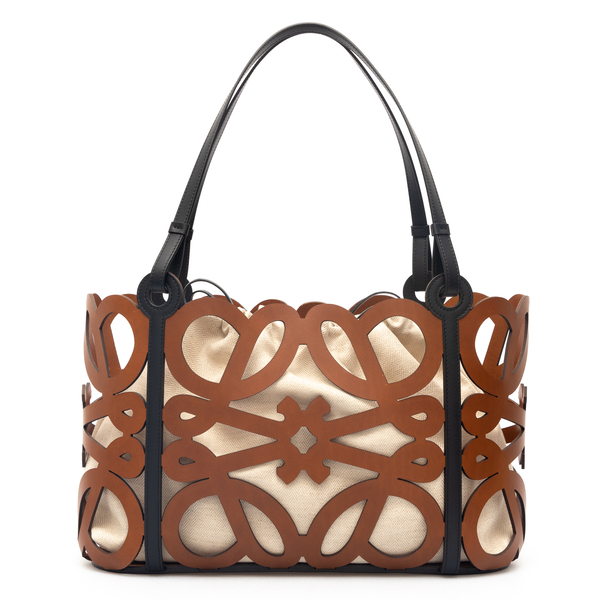 Brown tote bag with monogram                                                                                                                          Loewe A717Q04X01 back