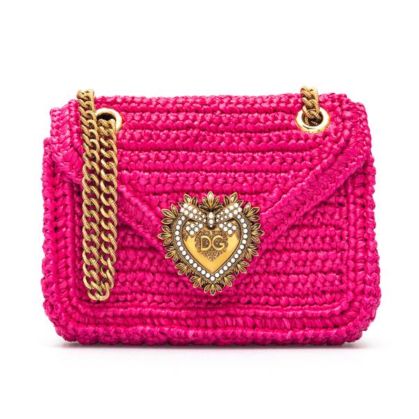 Mini bag in woven fuchsia raffia                                                                                                                      Dolce&gabbana BB6641 back
