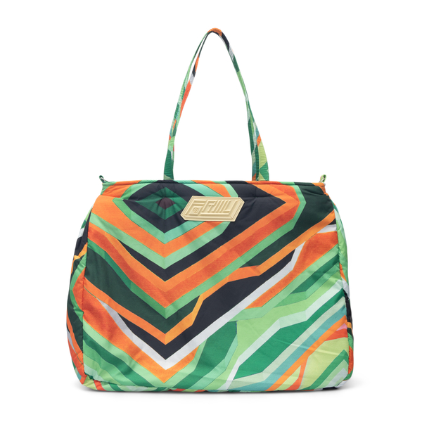 Green tote bag with geometric print                                                                                                                   Formystudio BGGE back