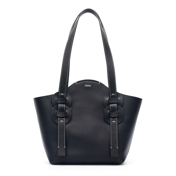 Black tote bag with intertwined rings                                                                                                                 Chloe' C21SS346 back