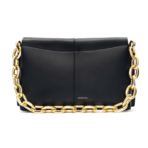 Black leather handbag with gold chain                                                                                                                 Wandler CARLYMINIHEAVYCHAIN back