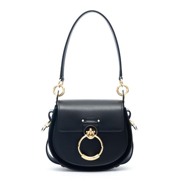 Black shoulder bag with gold ring                                                                                                                     Chloe' CHC18WS153 back