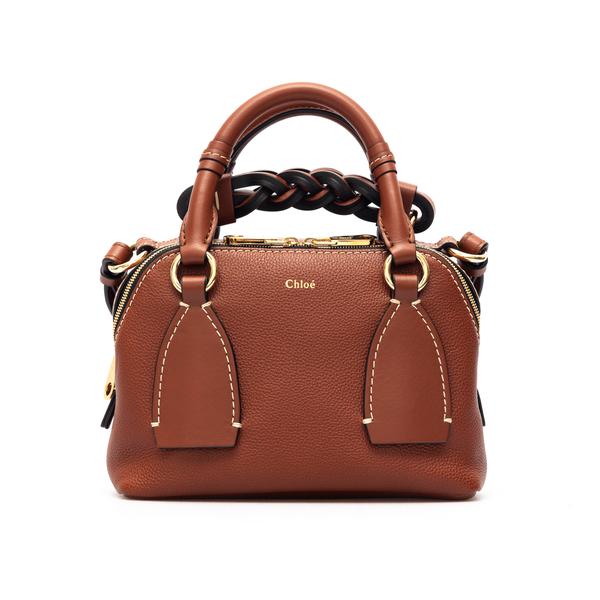 Brown shoulder bag with braided handle                                                                                                                Chloe' CHC20US361 back