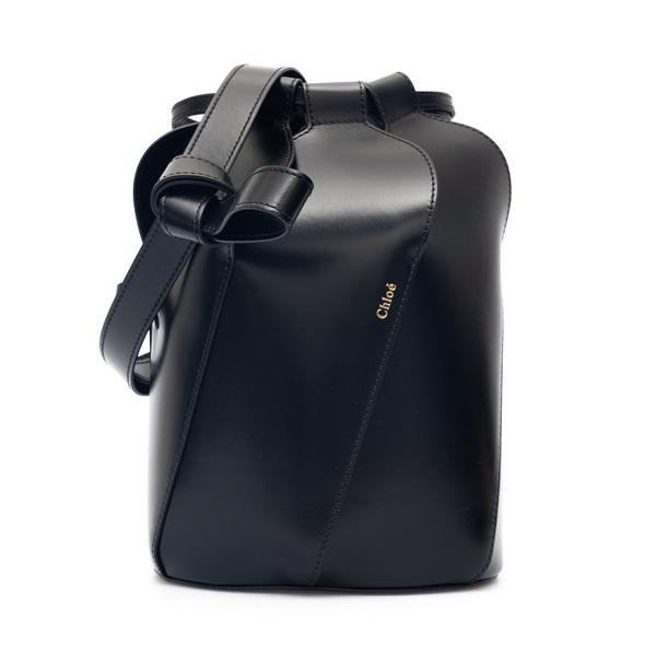 Black bucket bag with logo print                                                                                                                      Chloe' CHC21AS401 back
