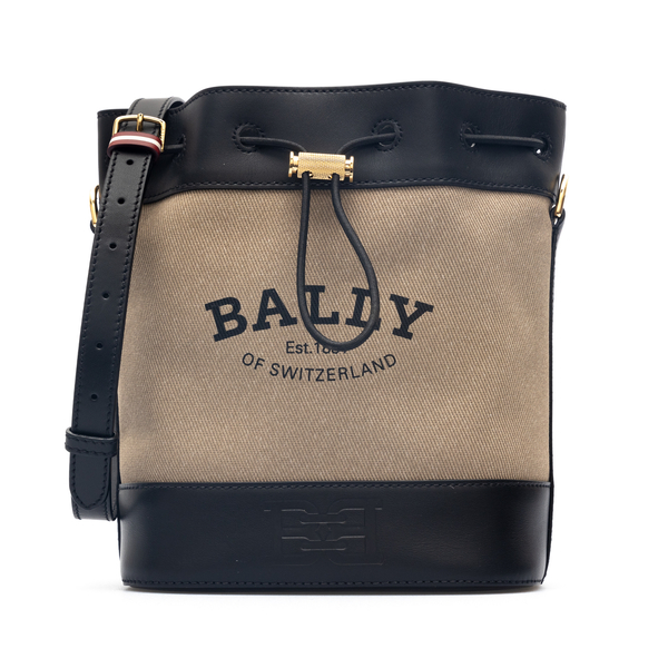 Beige bucket bag with brand name                                                                                                                      Bally CLEOHNAW back
