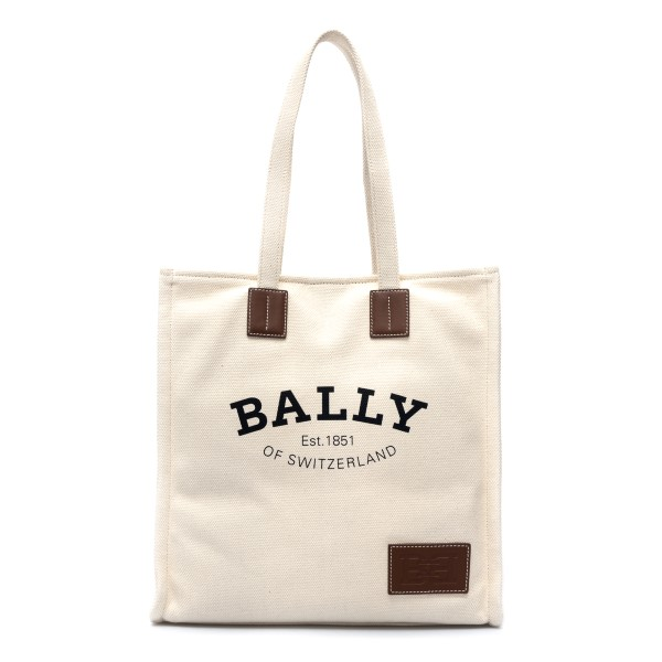 Borsa tote in tela bianca con logo                                                                                                                    Bally CRYSTALIAST23 fronte