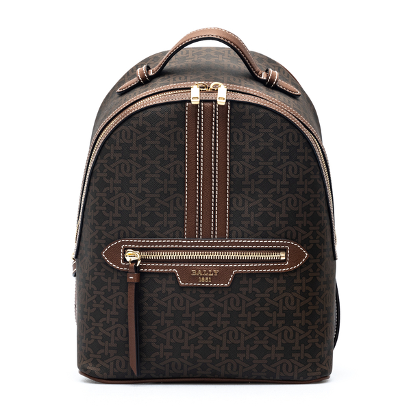 Brown backpack with gold logo                                                                                                                         Bally DAFFITPM back