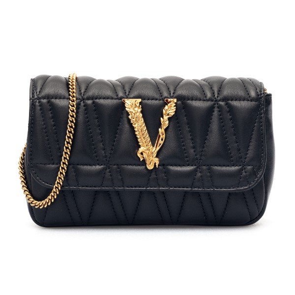 Borsa a tracolla nera trapuntata                                                                                                                      Versace DBFI002 fronte