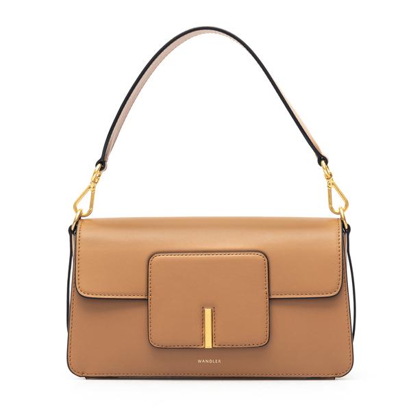 Brown shoulder bag with gold detail                                                                                                                   Wandler GEORGIABAG back