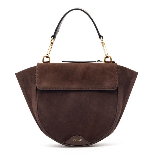 Brown suede handbag with logo                                                                                                                         Wandler HORTENSIABAGMINI back
