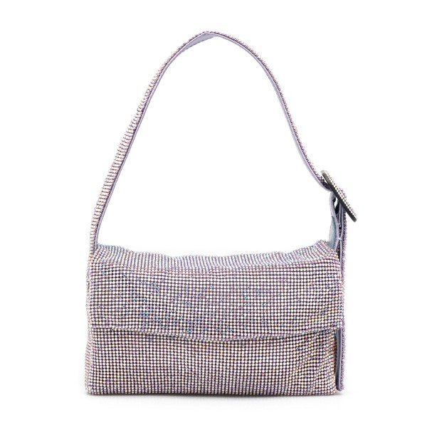 Shoulder bag in silver rhinestones                                                                                                                    Benedetta bruzziches LAVITTYLAMIGNON front