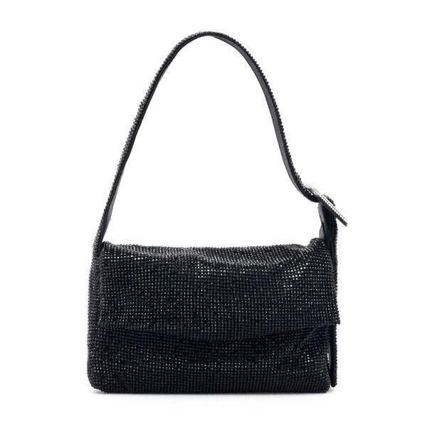Black shoulder bag with rhinestones                                                                                                                   Benedetta bruzziches LAVITTYLAMIGNON front