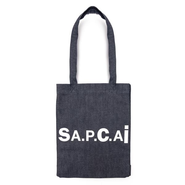 Denim tote bag with logo                                                                                                                              A.p.c. X Sacai M61492 back