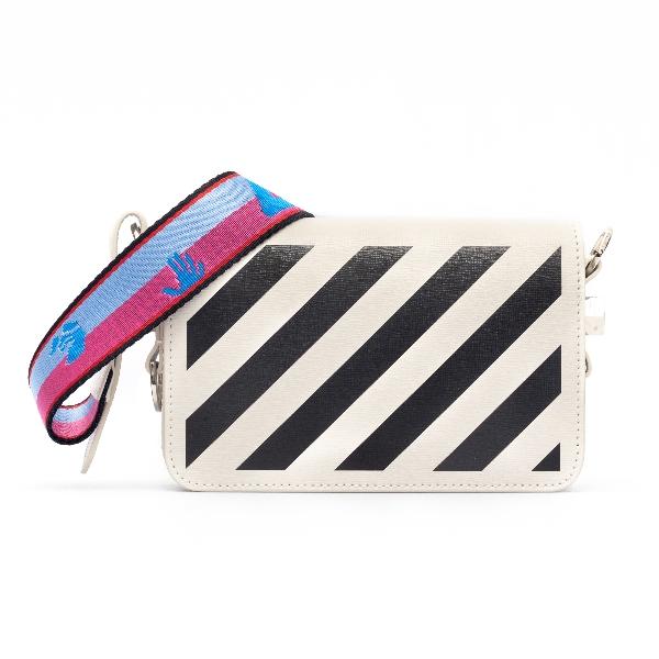 White mini bag with black diagonals                                                                                                                   Off white OWNA038R21LEA001 front