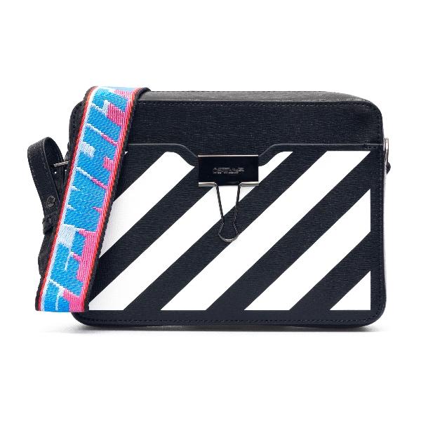 Black mini bag with white stripes                                                                                                                     Off white OWNA088R21LEA001 front