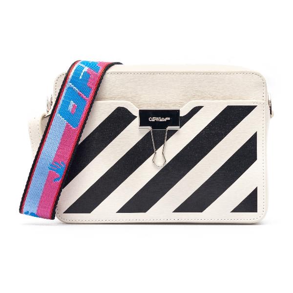 White mini bag with black stripes                                                                                                                     Off white OWNA088R21LEA001 front