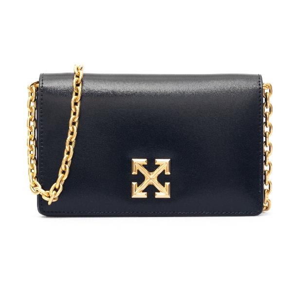 Black shoulder bag with gold logo                                                                                                                     Off white OWNA104R21LEA002 front