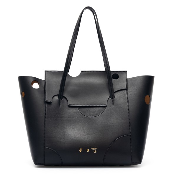 Black tote bag with cutouts                                                                                                                           Off White OWNA160S21LEA004 back
