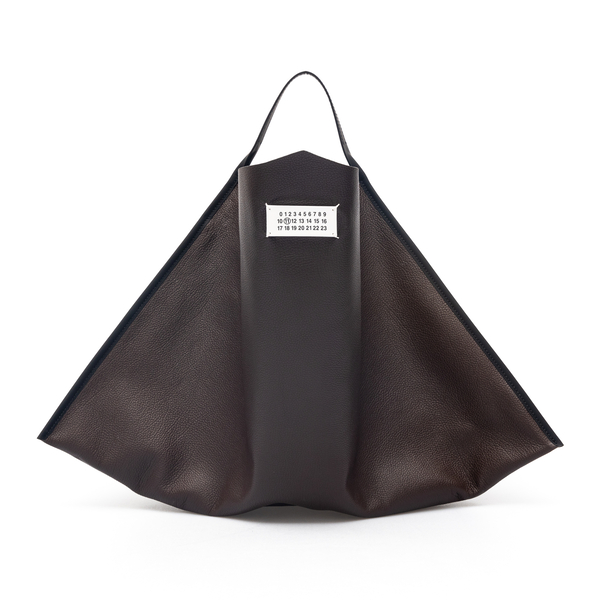 Brown leather tote bag                                                                                                                                Maison Margiela S56WC0132 back