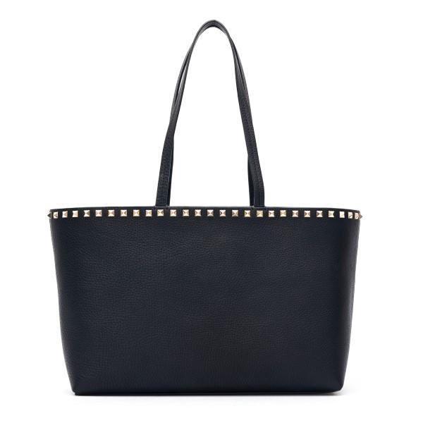 Small black tote bag with studs                                                                                                                       Valentino garavani VW2B0B71 front