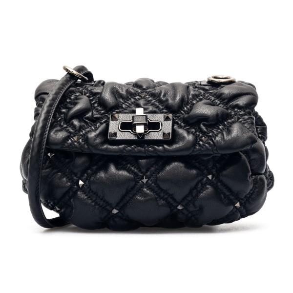 Black quilted shoulder bag with studs                                                                                                                 Valentino garavani VW2B0H79 front