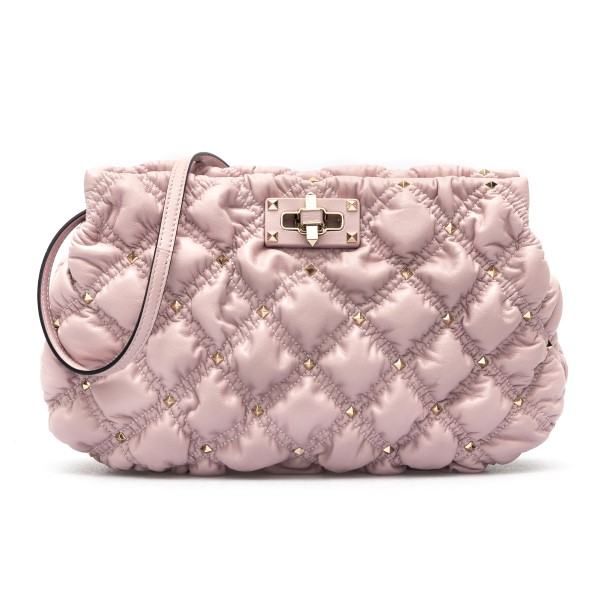 Pink quilted clutch with studs                                                                                                                        Valentino garavani VW2B0I22 front