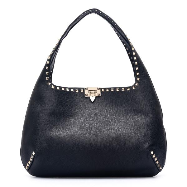 Large black shoulder bag with studs                                                                                                                   Valentino garavani VW2B0I24 front