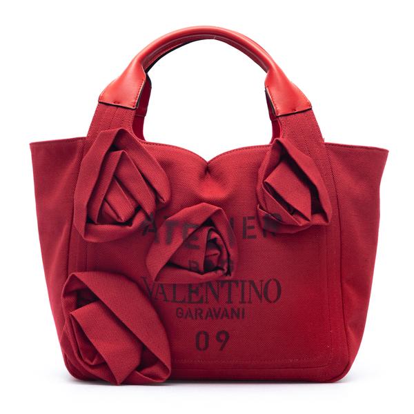 Red canvas tote bag with flowers                                                                                                                      Valentino Garavani WW2B0J36 back
