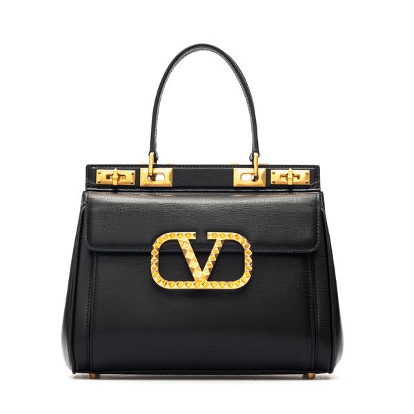 Borsa a mano nera con logo in borchie                                                                                                                 Valentino Garavani WW2B0J41 retro