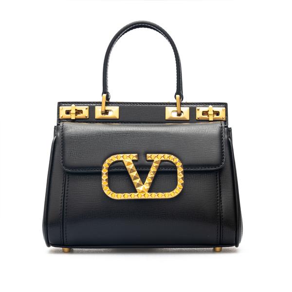 Black handbag with logo in gold studs                                                                                                                 Valentino Garavani WW2B0J44 retro